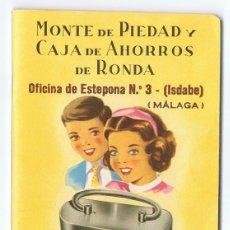 Documentos bancarios: LIBRETA DE AHORRO MONTE DE PIEDAD Y CAJA DE AHORROS DE RONDA MÁLAGA AÑO 1967 . Lote 167729612