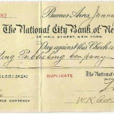 Documentos bancarios: INTERESANTE CHEQUE DEL THE NATIONAL CITY BANK OF NEW YORK, SUCURSAL BUENOS AIRES (1918). Lote 169648012