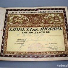 Documentos bancarios: CARTILLA DE LA CAJA DE PENSIONES PARA LA VEJEZ Y DE AHORRO - MANRESA - 1933. Lote 154311538