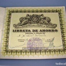 Documentos bancarios: CARTILLA DE LA CAJA DE PENSIONES PARA LA VEJEZ Y DE AHORRO - BARCELONA - 1957. Lote 154312638