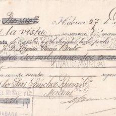 Documentos bancarios: LETRA DE CAMBIO. HABANA, CUBA, 1901. MANUEL MUÑOZ Y CÍA.. Lote 171018394