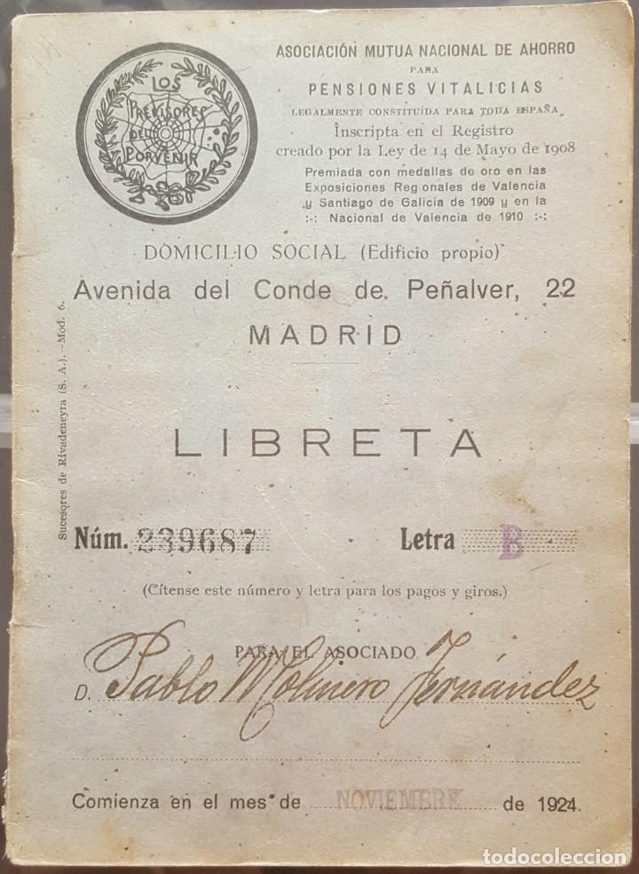 LIBRETA DE PENSIONES LOS PREVISORES DEL PORVENIR 1924 (Coleccionismo - Documentos - Documentos Bancarios)