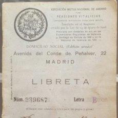 Documentos bancarios: LIBRETA DE PENSIONES LOS PREVISORES DEL PORVENIR 1924. Lote 171230488