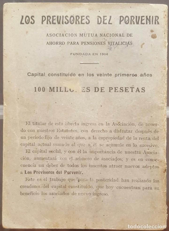 Documentos bancarios: Libreta de pensiones los previsores del porvenir 1924 - Foto 2 - 171230488