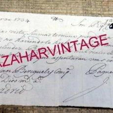 Documentos bancarios: BILBAO, 1734, PAGARE A LA VISTA , 600 REALES, RARO DOCUMENTO. Lote 171574470