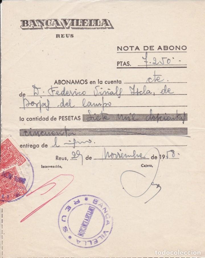 BANCA VILELLA REUS 1958 (Coleccionismo - Documentos - Documentos Bancarios)