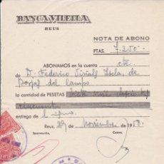 Documentos bancarios: BANCA VILELLA REUS 1958. Lote 171615043