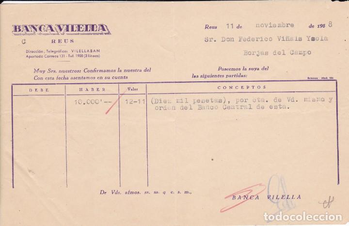 BANCA VILELLA DE REUS 1958 (Coleccionismo - Documentos - Documentos Bancarios)
