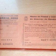 Documentos bancarios: TALONARIO BANCARIO IMPOSICIONES A PLAZO FIJO MONTE DE PIEDAD Y CAJA DE AHORROS DE RONDA 1968. Lote 171814059