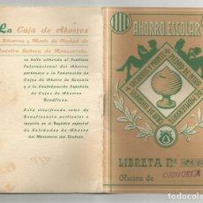 Documentos bancarios: LIBRETA CAJA DE AHORROS Y SOCORROS Y MONTE DE PIEDAD NTRA SRA DE MONSERRATE-ORIHUELA 1966 . Lote 172785522