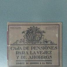 Documentos bancarios: LIBRETA CAJA DE PENSIONES PARA LA VEJEZ Y AHORROS. ABIERTA EN 1931 Y CANCELADA EN 1946.. Lote 173095194