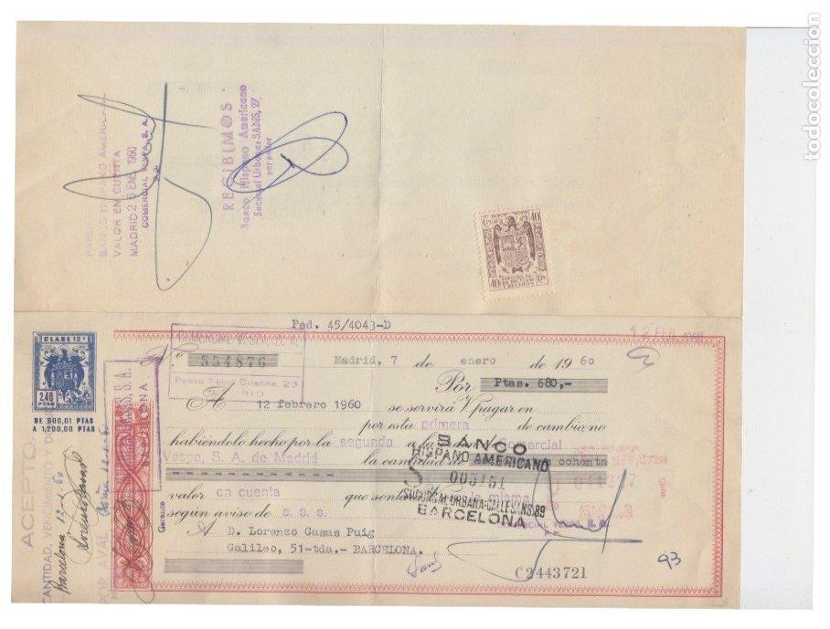 LOTE 24 LETRAS CLASE 11 12 + TIMBRES 40 CTS. MOTO VESPA, 1960/62. BANCO HISPANO AMERICANO BARCELONA (Coleccionismo - Documentos - Documentos Bancarios)