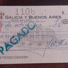 Documentos bancarios: 1973, CHEQUE BANCO DE GALICIA Y BUENOS AIRES. Lote 173522833