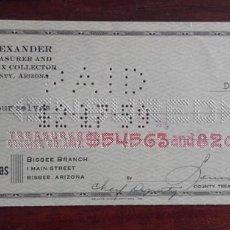 Documentos bancarios: 1959, CHEQUE THE BANK OF DOUGLAS. Lote 173522895