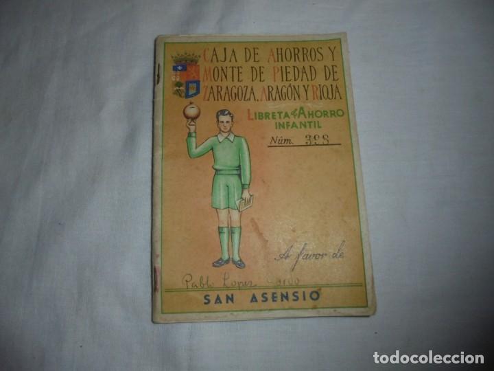 CARTILLA CAJA DE AHORROS Y MONTE DE PIEDAD DE ZARAGOZA ARAGON Y RIOJA.LIBRETA DE AHORRO INFANTIL 195 (Coleccionismo - Documentos - Documentos Bancarios)