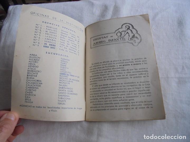 Documentos bancarios: CARTILLA CAJA DE AHORROS Y MONTE DE PIEDAD DE ZARAGOZA ARAGON Y RIOJA.LIBRETA DE AHORRO INFANTIL 195 - Foto 2 - 173977157