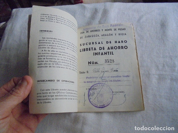 Documentos bancarios: CARTILLA CAJA DE AHORROS Y MONTE DE PIEDAD DE ZARAGOZA ARAGON Y RIOJA.LIBRETA DE AHORRO INFANTIL 195 - Foto 3 - 173977157