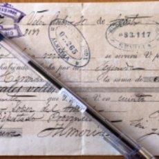 Documentos bancarios: LETRA DE CAMBIO- VELEZ RUBIO- ALMERIA- DIEGO LOPEZ DEL ARENAL 1.887. Lote 174588123