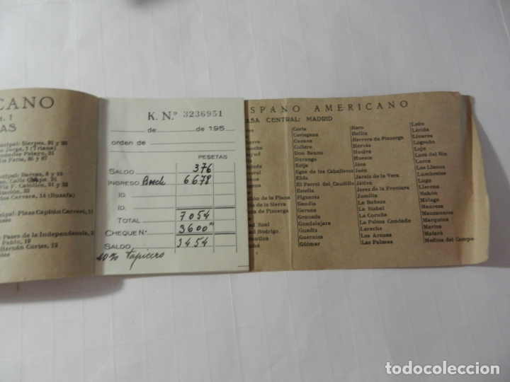 Documentos bancarios: TALONARIO DE CHEQUES BANCO CENTRAL HISPANO AMERICANO - AÑOS 50. - Foto 2 - 175232577