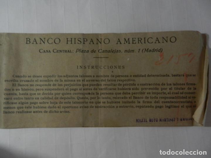 TALONARIO DE CHEQUES BANCO CENTRAL HISPANO AMERICANO - AÑOS 50. (Coleccionismo - Documentos - Documentos Bancarios)