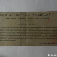 Documentos bancarios: TALONARIO DE CHEQUES BANCO CENTRAL HISPANO AMERICANO - AÑOS 50. . Lote 175232577