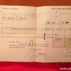 Documentos bancarios: BANCO DE BILBAO COMPRA VENTA DERECHOS ACCIONES DE IBERDUERO 1965 . Lote 177459073