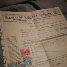 Documentos bancarios: RECIBO BANCO DE VIZCAYA, S.A- DEPOSITO DE EFECTOS EN CUSTODIA INTRANSMISIBLE, (CON TIMBRES) 1938.. Lote 177509294