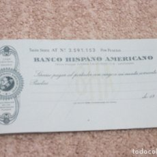 Documentos bancarios: TALONARIO DE CHEQUES DEL BANCO HISPANO AMERICANO, AÑOS 60 . Lote 178184680