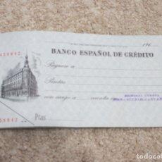 Documentos bancarios: TALONARIO DE CHEQUES DEL BANCO ESPAÑOL DE CRÉDITO, AÑOS 60 . Lote 178184951