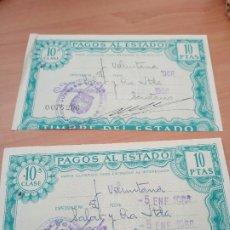 Documentos bancarios: LOTE 2 PAGOS AL ESTADO 1968 (10 PESETAS). Lote 178192575