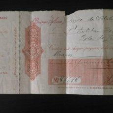 Documentos bancarios: CHEQUE DEL BANCO ESPAÑOL DEL RIO DE LA PLATA 1916, GRANDES DIMENSIONES.. Lote 178347860
