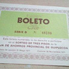 Documentos bancarios: ANTIGUO Y ESCASO BOLETO CAJA DE AHORROS PROVINCIAL DE GUIPUZCOA 1971. Lote 178644671