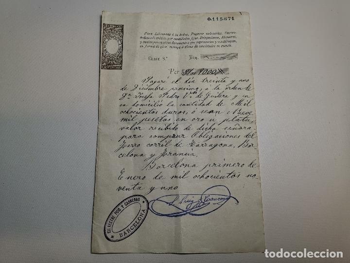 PAGARE ENDOSABLE BARCELONA 1891 MANUSCRITO--9000 PTAS (Coleccionismo - Documentos - Documentos Bancarios)