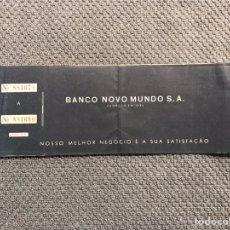 Documentos bancarios: BRASILEÑO. TALONARIO DE CHEQUES. BANCO NOVO MUNDO S. A. COLECCIÓNISMO (H.1970?). Lote 179334006