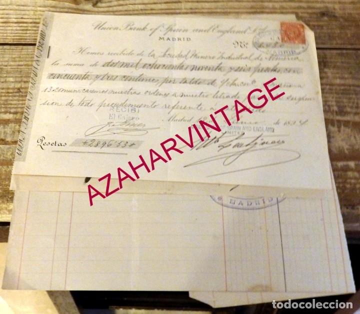 MADRID, 1894, DOCUMENTOS BANCARIOS DE LA SOCIEDAD MINERO INDUSTRIAL DE ALMERIA (Coleccionismo - Documentos - Documentos Bancarios)