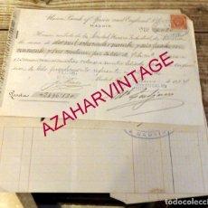 Documentos bancarios: MADRID, 1894, DOCUMENTOS BANCARIOS DE LA SOCIEDAD MINERO INDUSTRIAL DE ALMERIA. Lote 180128336