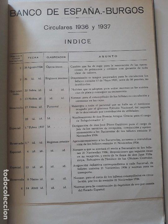 Documentos bancarios: Circulares emitidas por el Banco de España 1936 - 1937. Burgos. Guerra civil. Encuadernadas - Foto 2 - 180195377
