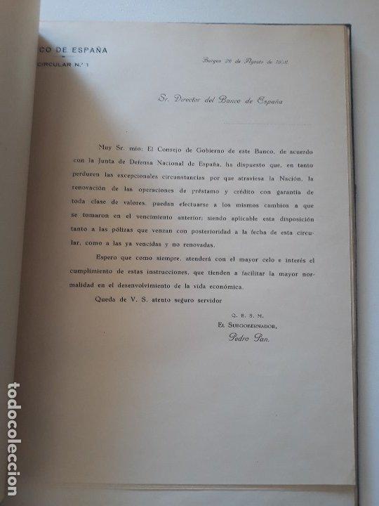 Documentos bancarios: Circulares emitidas por el Banco de España 1936 - 1937. Burgos. Guerra civil. Encuadernadas - Foto 4 - 180195377