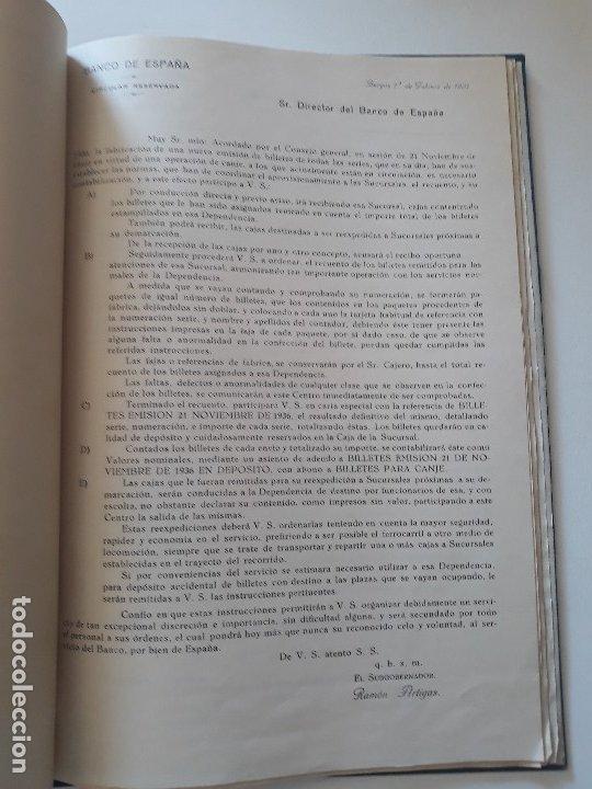 Documentos bancarios: Circulares emitidas por el Banco de España 1936 - 1937. Burgos. Guerra civil. Encuadernadas - Foto 5 - 180195377
