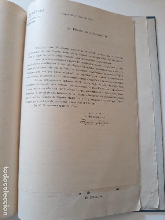 Documentos bancarios: Circulares emitidas por el Banco de España 1936 - 1937. Burgos. Guerra civil. Encuadernadas - Foto 6 - 180195377