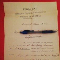 Documentos bancarios: 1885 GIRO AGENCIA ADUANAS PEDRO RICO MALAGA. Lote 180274258