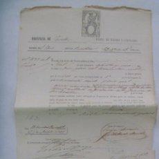 Documentos bancarios: BANCO DE ESPAÑA - VENTA BIENES NACIONALES: RECIBO TESORO PUBLICO. SEVILLA , 1876 . SIGLO XIX. Lote 180284988