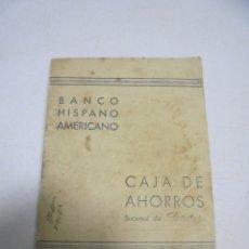 Documentos bancarios: ANTIGUA CARTILLA DE AHORROS. BANCO HISPANO AMERICANO. CADIZ. AÑOS 50. CON MOVIMIENTOS. VER. Lote 180298098