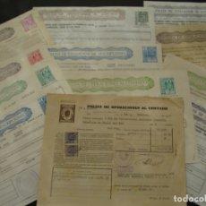 Documentos bancarios: COLECCIÓN DE 12 PÓLIZAS DE OPERACIONES AL CONTADO Y SUSCRIPCIONES - SALIDA 0,01€. Lote 181416006