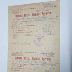 Documentos bancarios: RECIBOS CAMARA OFICIAL SINDICAL AGRARIA MURCIA AÑO 1960. Lote 181621993