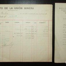 Documentos bancarios: CRÉDITO DE LA UNIÓN MINERA DE BILBAO. CARTA Y EXTRACTO DE CUENTA DE 1909.. Lote 182746873