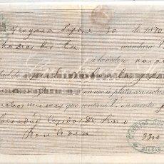 Documentos bancarios: VERGARA (GUIPUZCOA) 1870 PAGARÉ CUADRADO HERMANOS DE BILBAO.. Lote 182876906