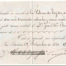 Documentos bancarios: SAN SEBASTIÁN (GUIPUZCOA) 1864 PAGARE DE DAVID DELVALLE Y CIA. DE RENTERÍA.. Lote 182878010
