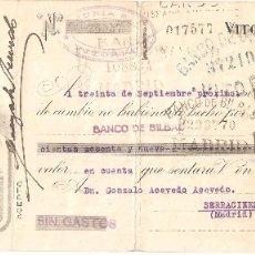 Documentos bancarios: VITORIA (ÁLAVA) 1941 PAGARÉ DE AJURIA,S.A. MAQUINARIA AGRÍCOLA. Lote 182879251