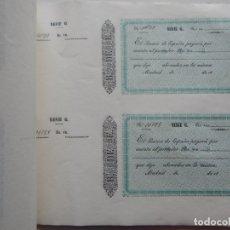 Documentos bancarios: ÚNICO / TALONARIO DE REALES CASI COMPLETO - AÑO 1861, MADRID - SERIE G. Lote 182954192